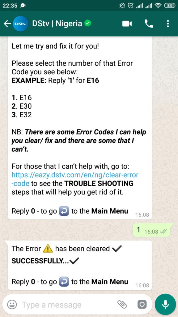 DStv WhatsApp Self-Services