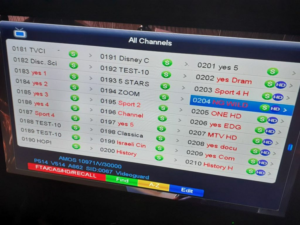 Yes tv Israel Package Frequency On Amos 3/7 4w
