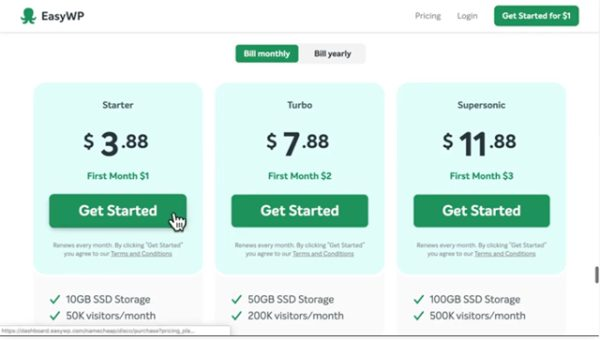 Namecheap EasyWP Pricing