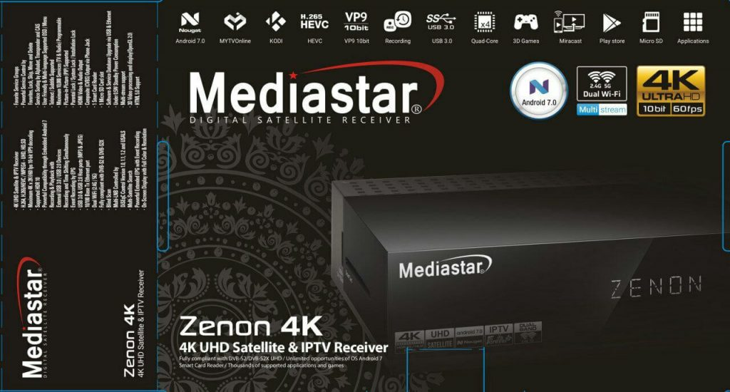 Mediastar Zenon 4K Satellite And IPTV Receiver