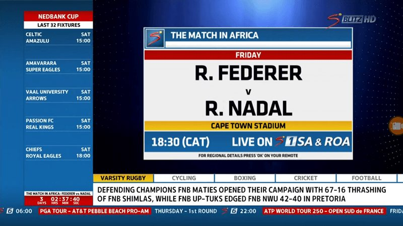 The Match For Africa: How To Watch Federer VS Nadal