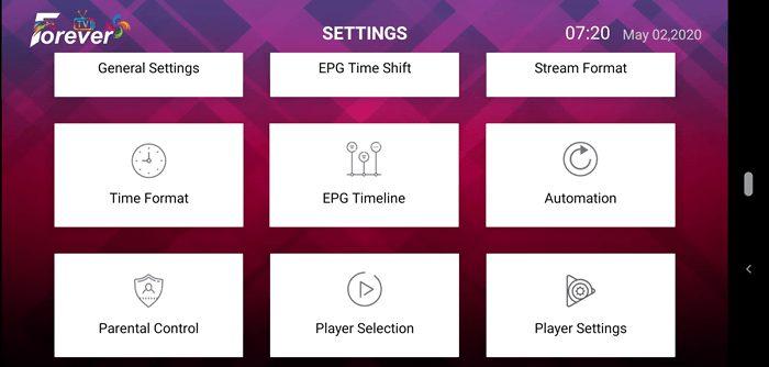 Forever IPTV App Settings