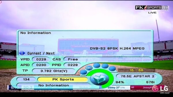 Pakistan Sport HD on Apstar 76.5E (C-Band) For EPL & Cricket