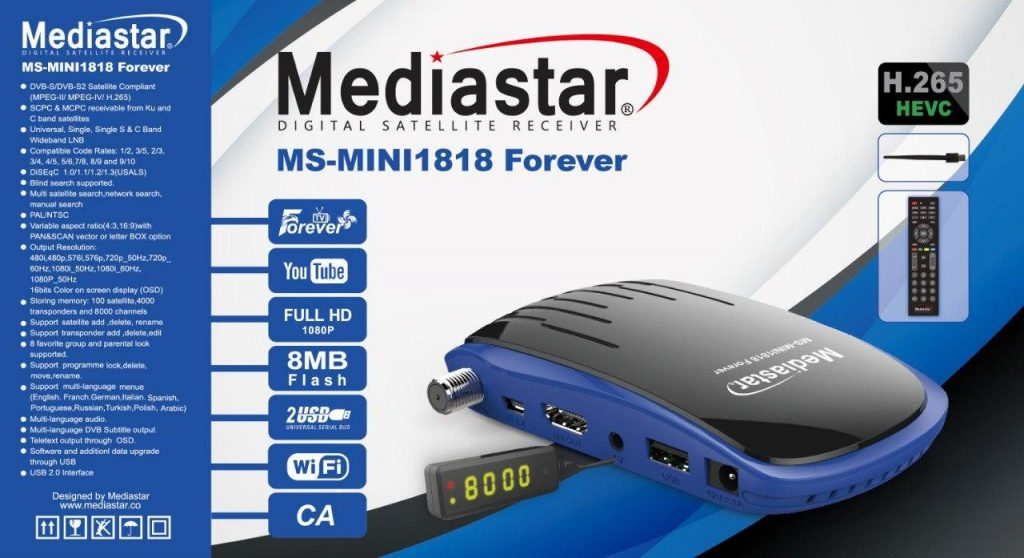 Mediastar 1111, 1818, 2121, 2323, 2727 Forever Receivers Full Specifications